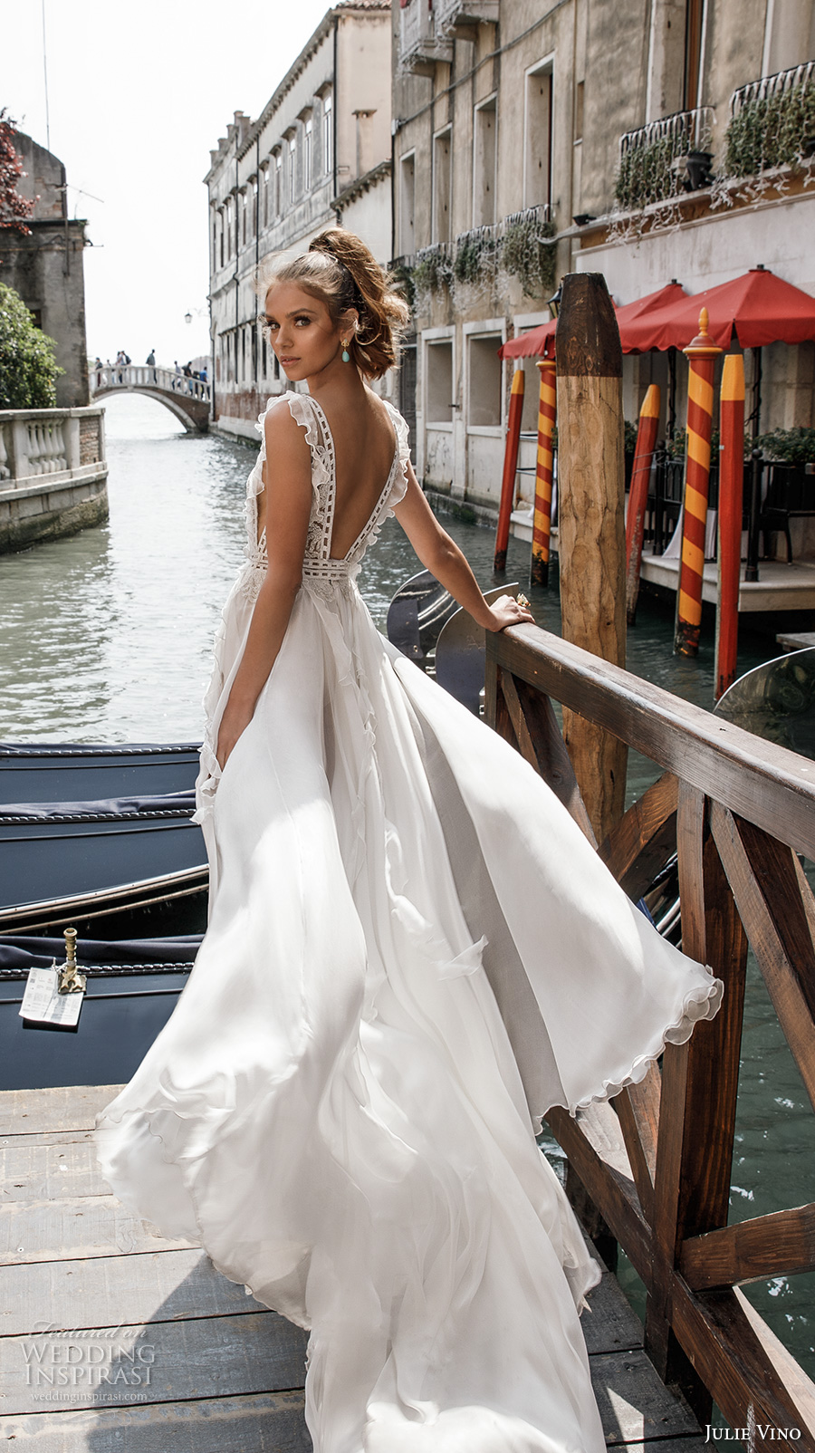 julie vino spring 2018 bridal sleeveless deep v neck heavily embellished bodice side split flowy skirt romantic sexy a line wedding dress open back chapel train (12) bv