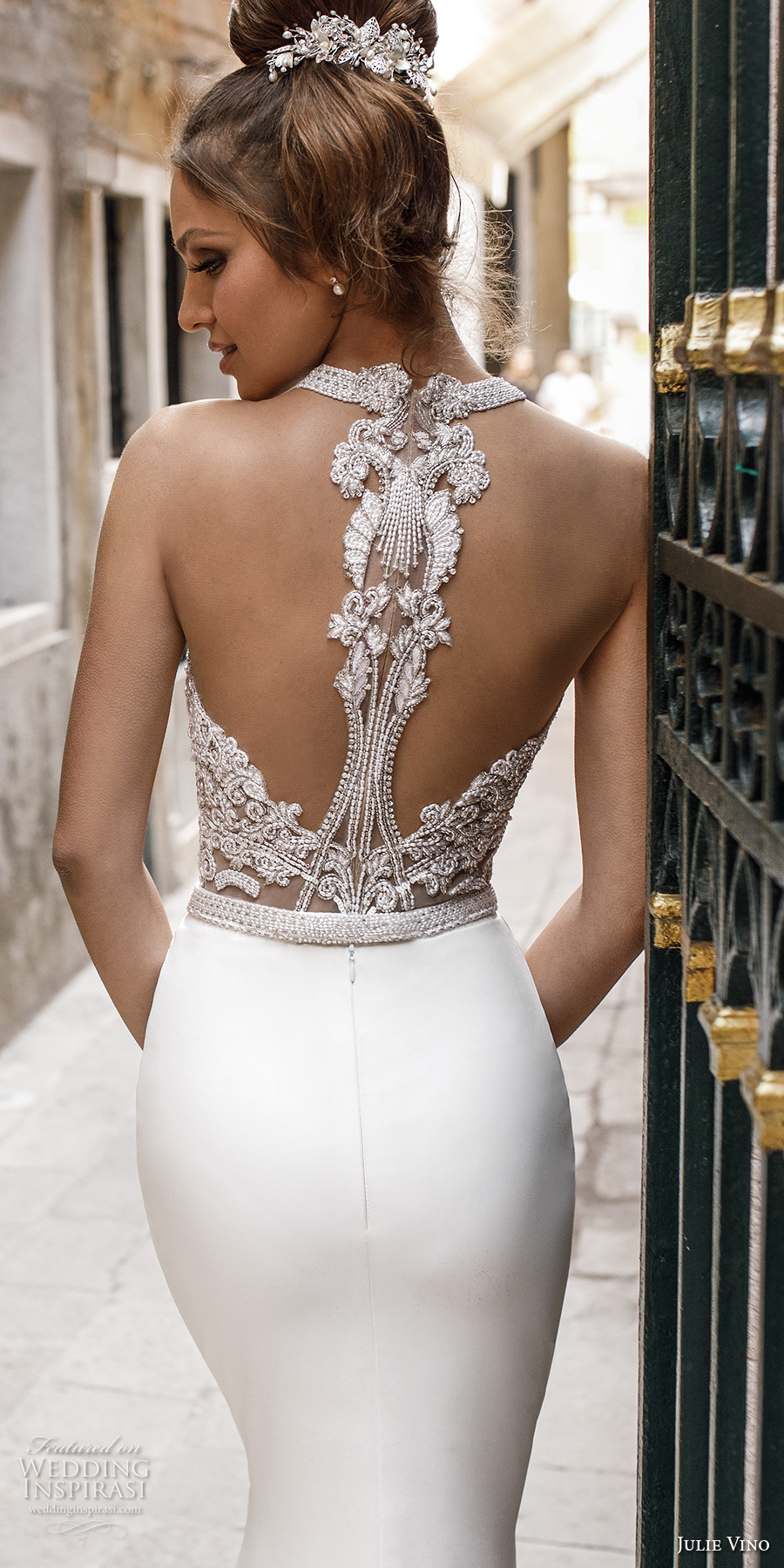 julie vino spring 2018 bridal sleeveless halter neck heavily embellished bodice elegant chic fit and flare sheath wedding dress rasor back chapel train (11) zbv