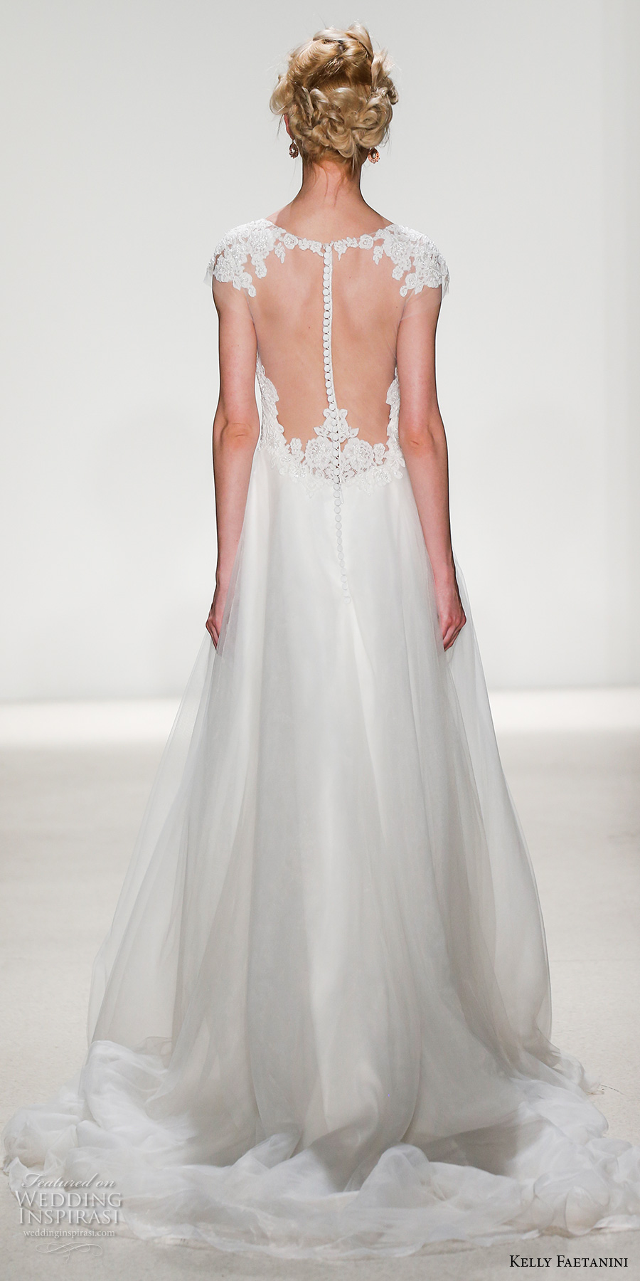 kelly faetanini spring 2018 bridal cap sleeves illusion v sweetheart neckline heavily embellished bodice romantic a  line wedding dress sheer mid button back chapel train (regan) bv