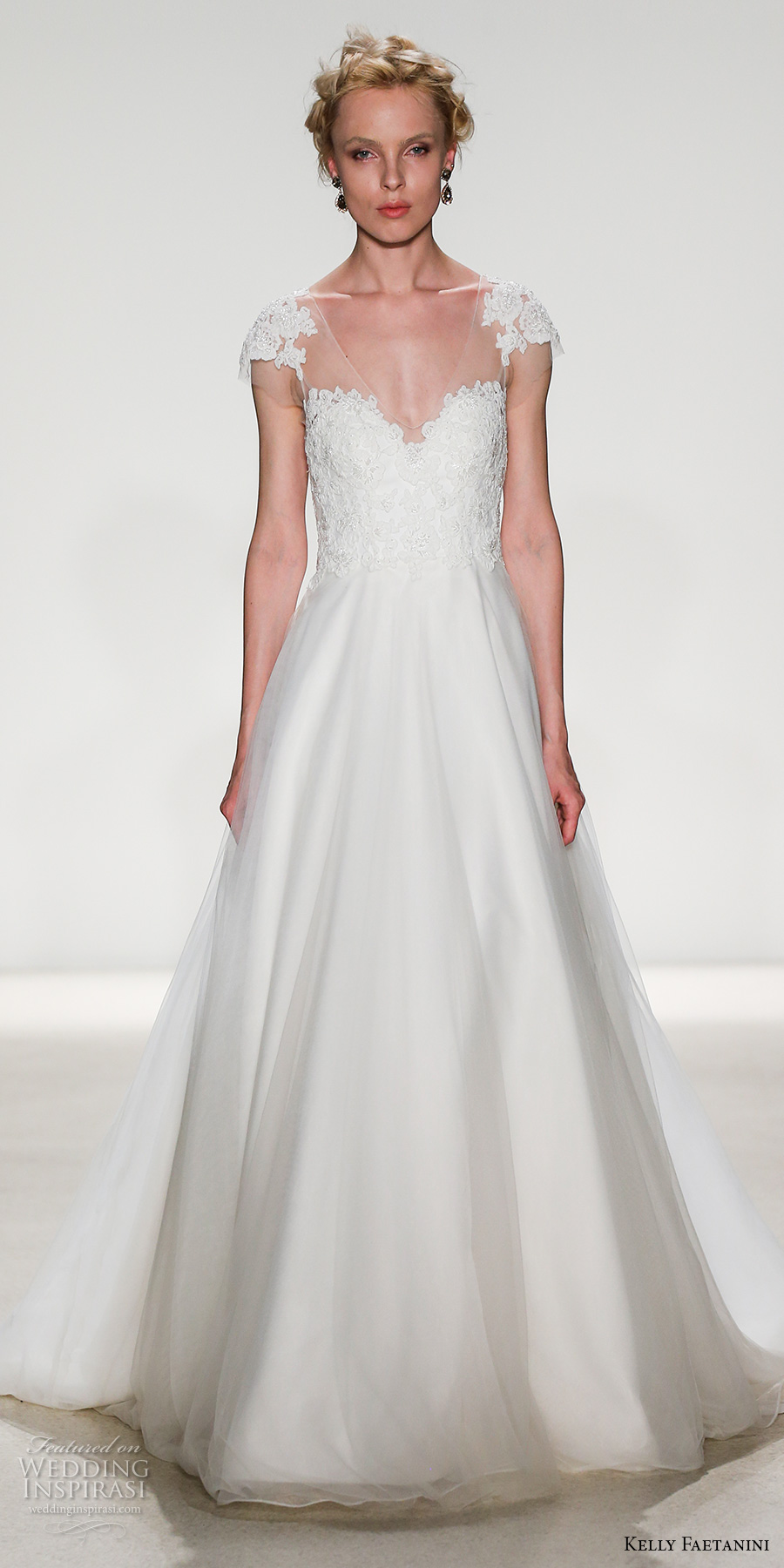 kelly faetanini spring 2018 bridal cap sleeves illusion v sweetheart neckline heavily embellished bodice romantic a  line wedding dress sheer mid button back chapel train (regan) mv