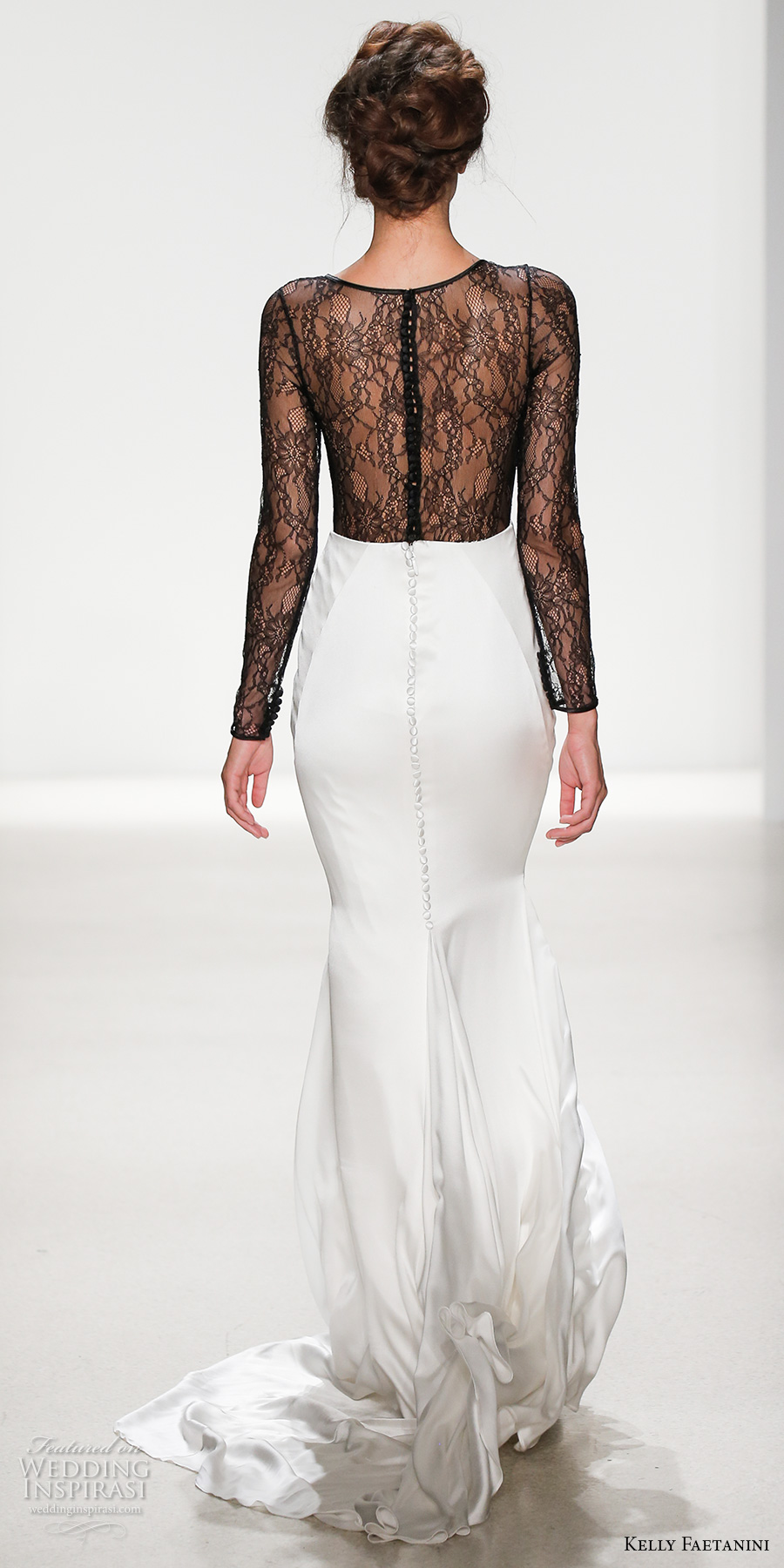 kelly faetanini spring 2018 bridal long sleeves deep v neck black lace heavily embellished bodice flowy sexy sheath wedding dress covered lace back chapel train (portia) bv