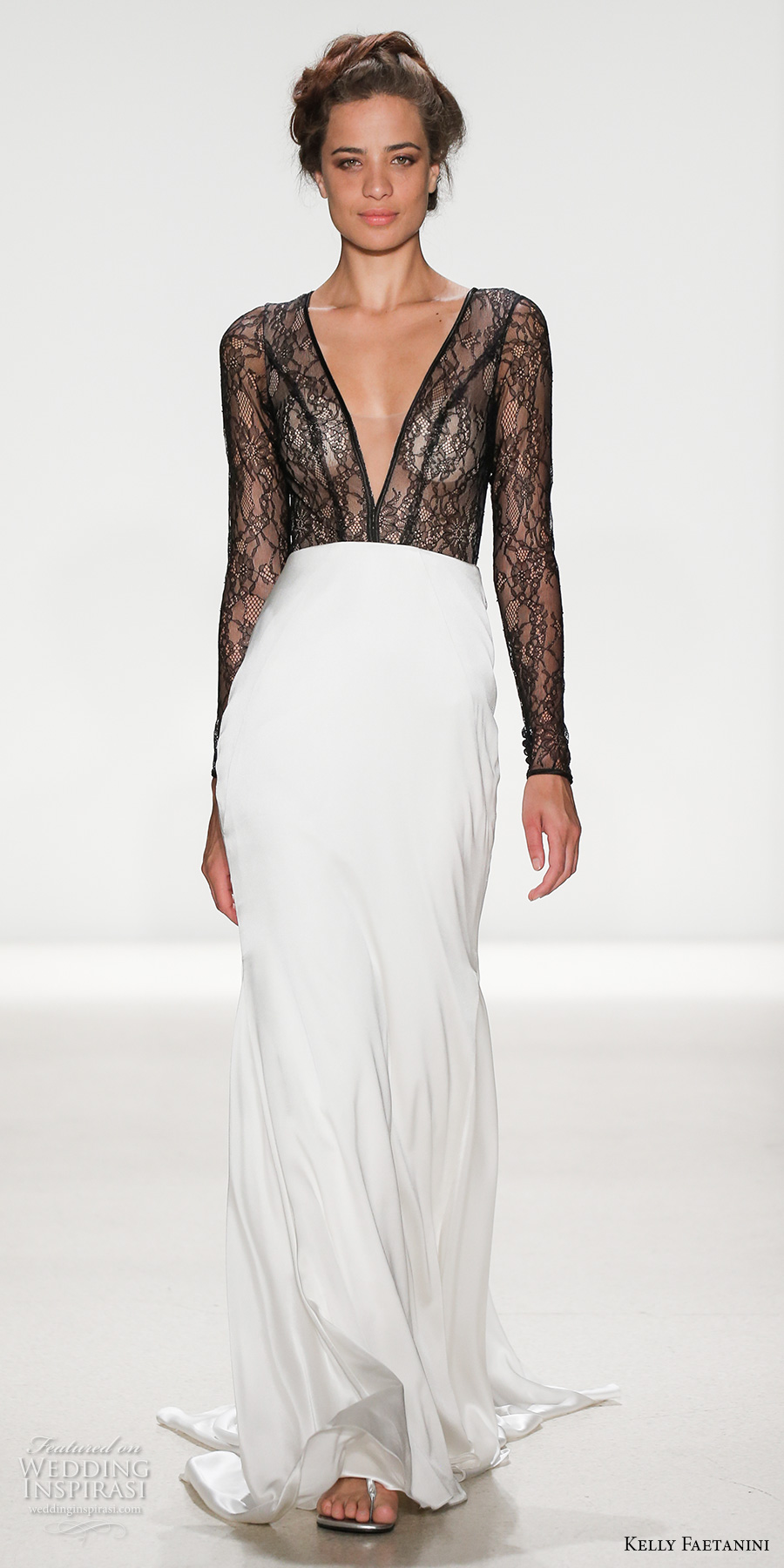 kelly faetanini spring 2018 bridal long sleeves deep v neck black lace heavily embellished bodice flowy sexy sheath wedding dress covered lace back chapel train (portia) mv