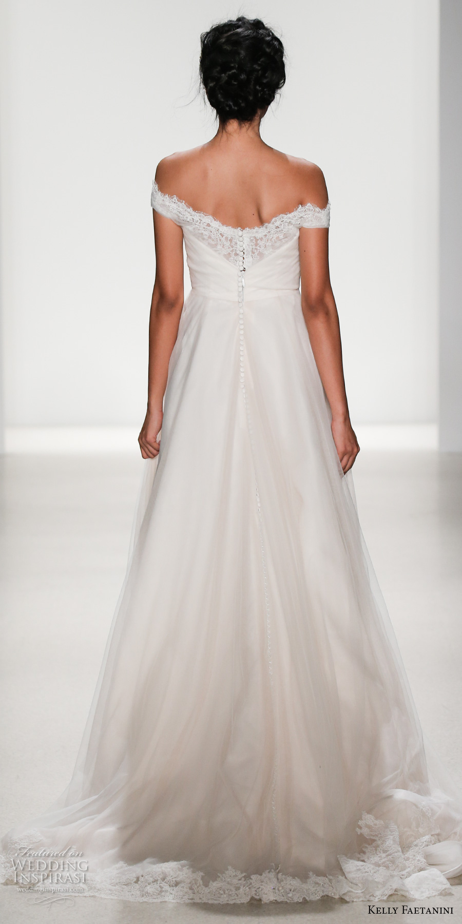kelly faetanini spring 2018 bridal off the shoulder straight across sweetheart neckline ruched wrap over bodice romantic a line wedding dress chapel train (miranda) bv