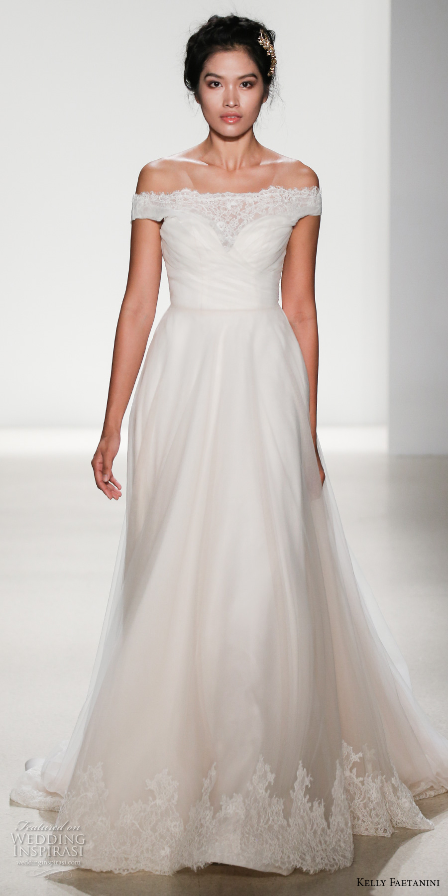 kelly faetanini spring 2018 bridal off the shoulder straight across sweetheart neckline ruched wrap over bodice romantic a line wedding dress chapel train (miranda) mv