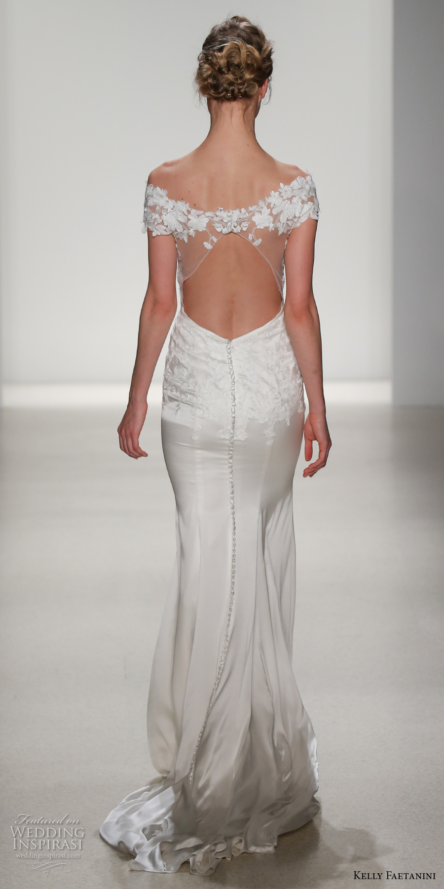 kelly faetanini spring 2018 bridal off the shoulder sweetheart neckline heavily embellished bodice elegant sheath wedding dress keyhole back short train (emilia) bv