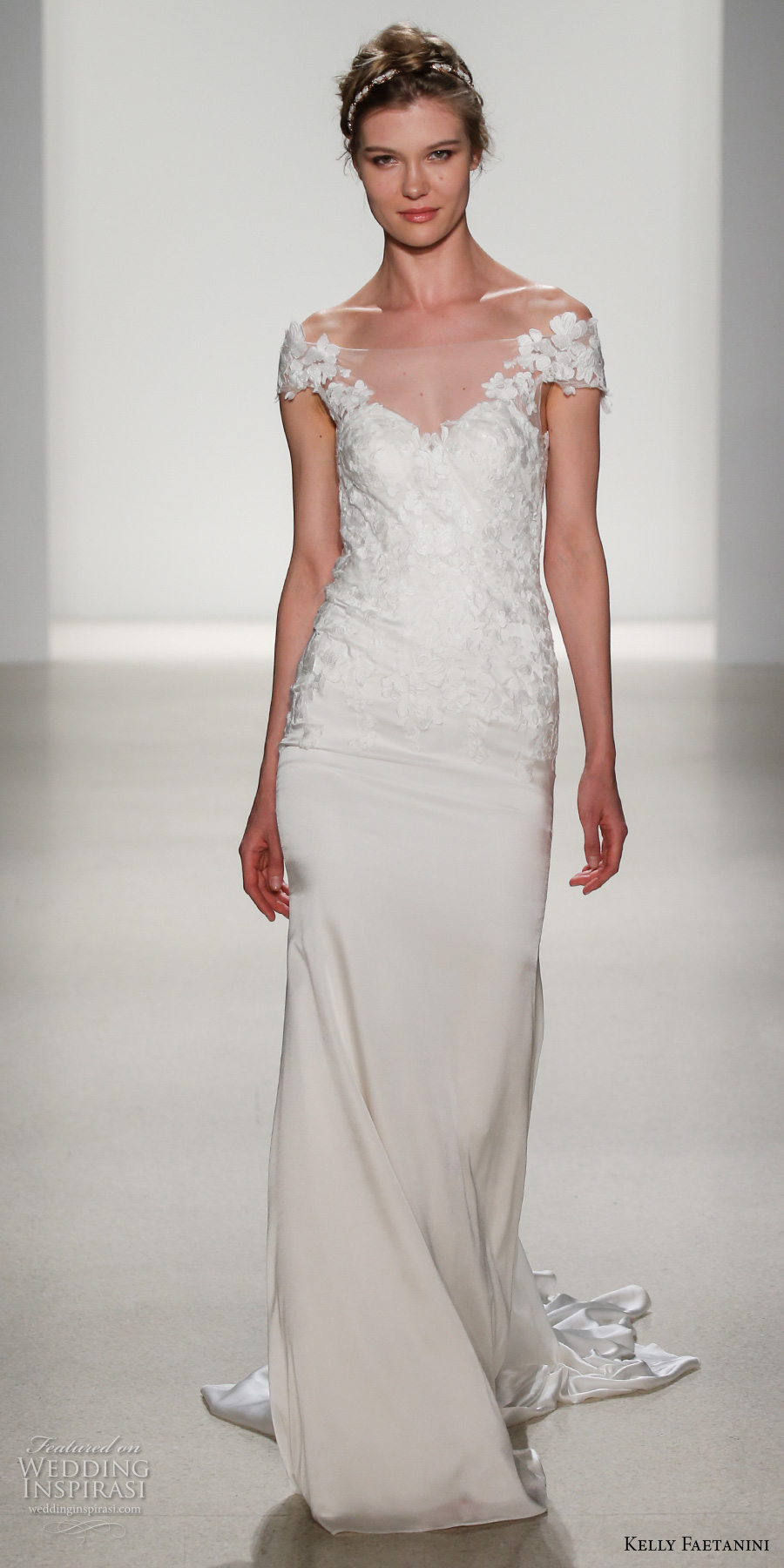 kelly faetanini spring 2018 bridal off the shoulder sweetheart neckline heavily embellished bodice elegant sheath wedding dress keyhole back short train (emilia) mv