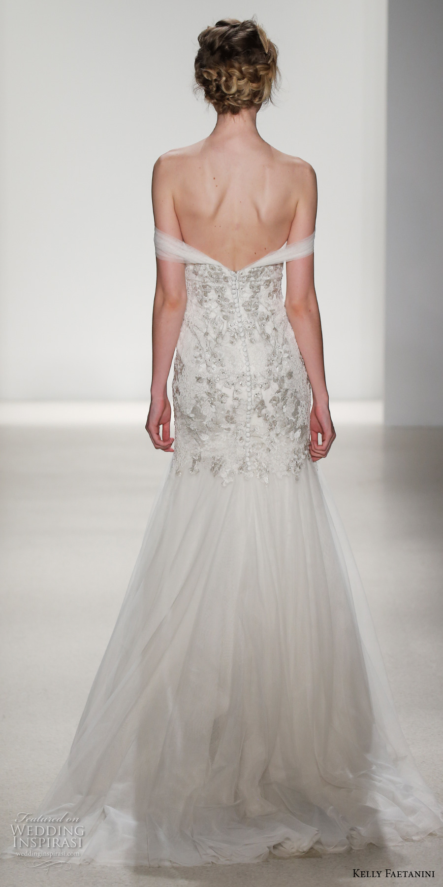 kelly faetanini spring 2018 bridal off the shoulder sweetheart neckline heavily embellished bodice tulle skirt romantic drop waist a  line wedding dress open back chapel train (beatrice) bv