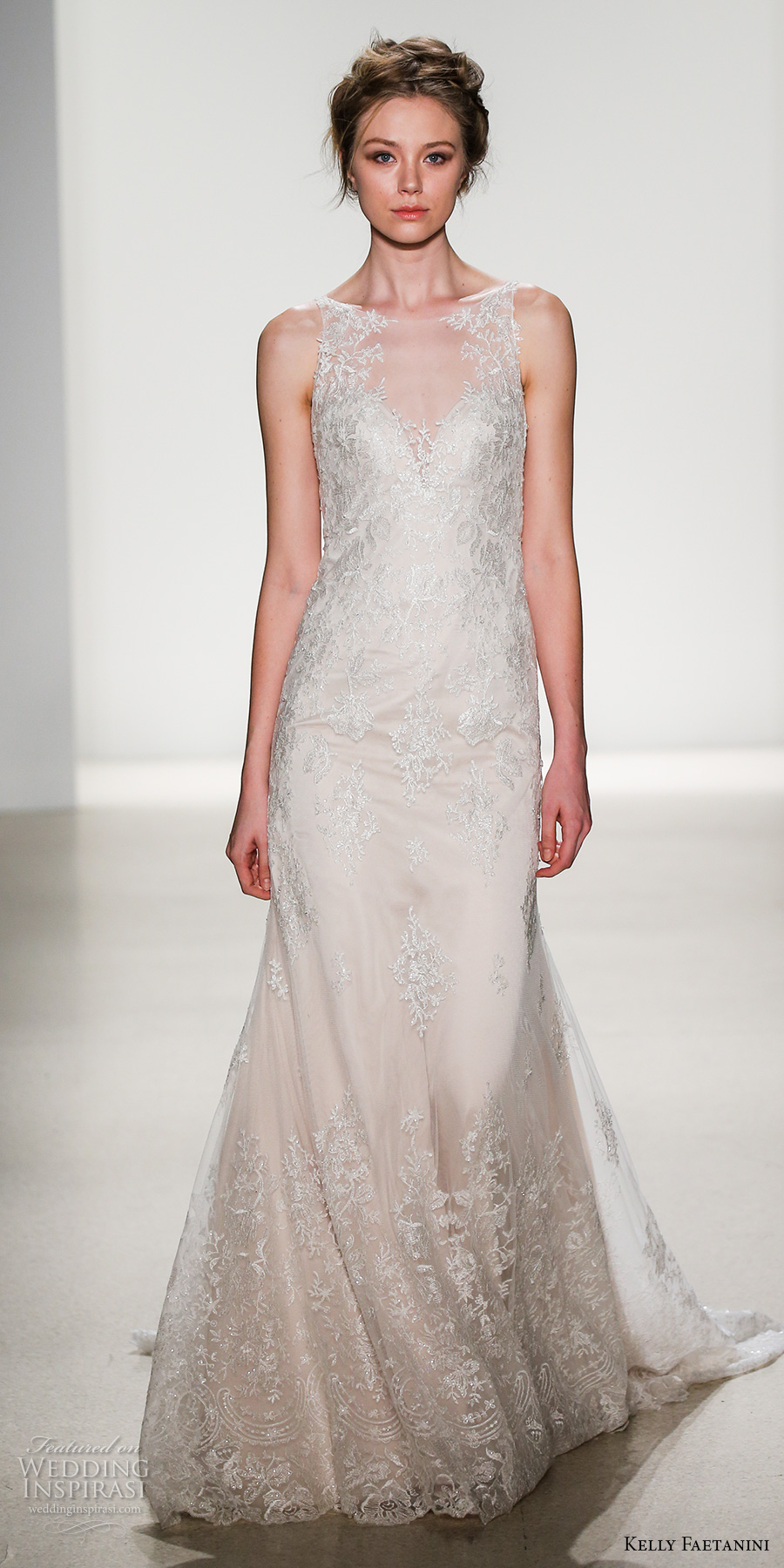 kelly faetanini spring 2018 bridal sleeveless illusion bateau sweetheart neckline full embellishment elegant drop waist a  line wedding dress sheer back chapel train (francisa) mv