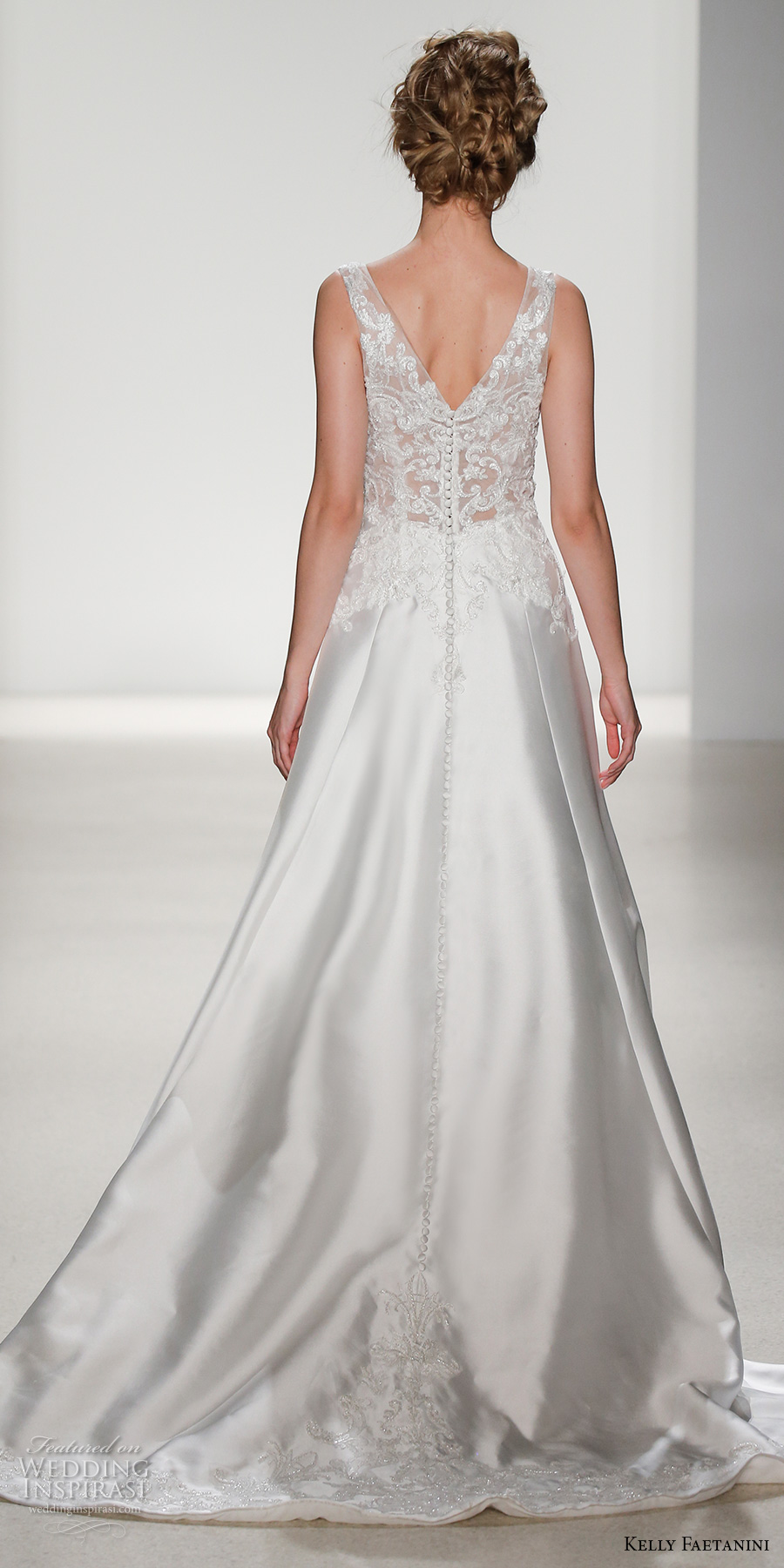 kelly faetanini spring 2018 bridal sleeveless lace strap v neck heavily embellished bodice satin skirt elegant a  line wedding dress v lace back chapel train (ceres) bv