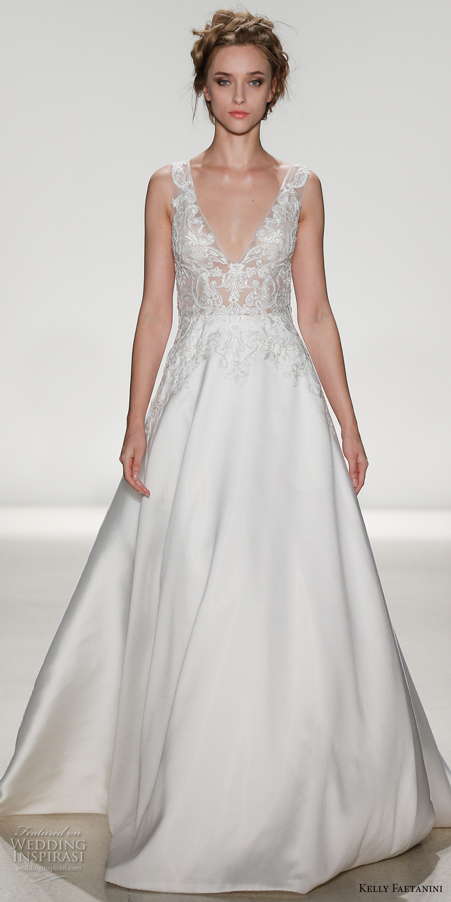 kelly faetanini spring 2018 bridal sleeveless lace strap v neck heavily embellished bodice satin skirt elegant a  line wedding dress v lace back chapel train (ceres) mv