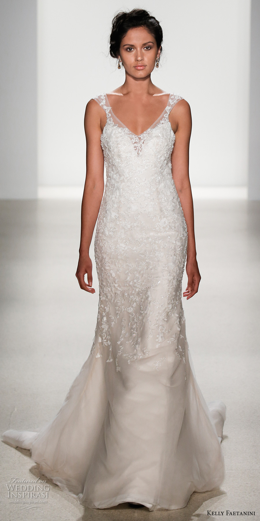 kelly faetanini spring 2018 bridal sleeveless v neck heavily embellished bodice elegant fit and flare wedding dress lace sheer back chapel train (jessica) mv