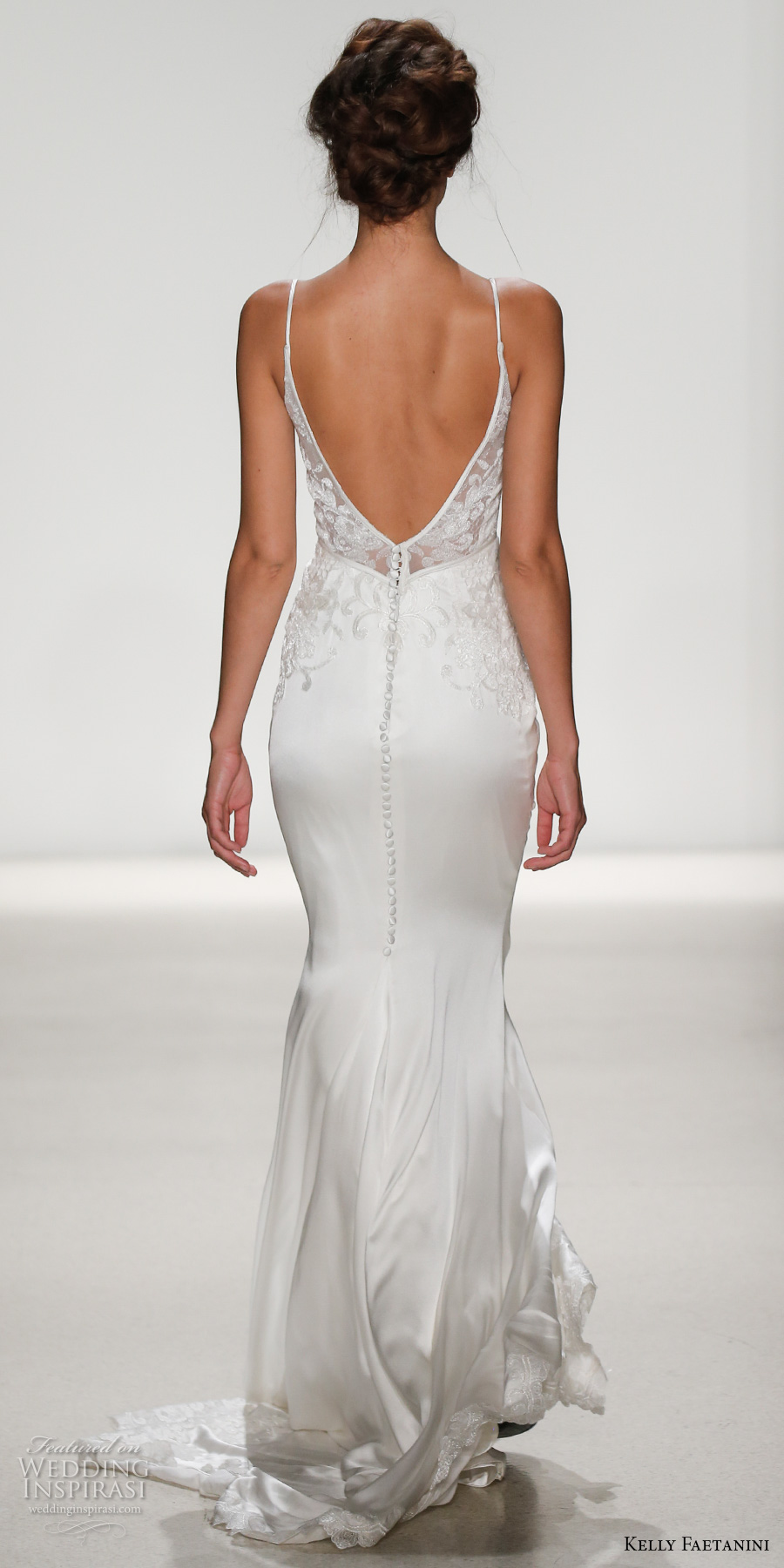 kelly faetanini spring 2018 bridal spagetti strap v neck heavily embellished bodice bustier satin skirt elegant sheath wedding dress open v back short train (bianca) bv