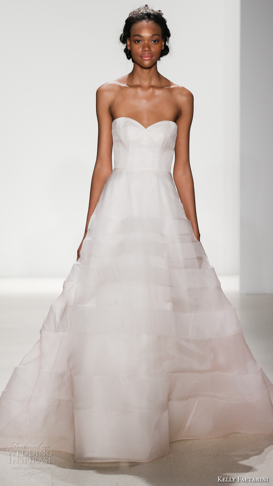 kelly faetanini spring 2018 bridal strapless sweetheart neckline simple princess romantic a  line wedding dress open back chapel train (juno) mv