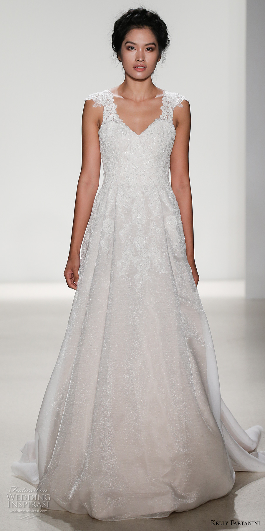 kelly faetanini spring 2018 bridal thick strap sweetheart neckline heavily embellished bodice romantic a  line wedding dress open v back chapel train (silvia) mv