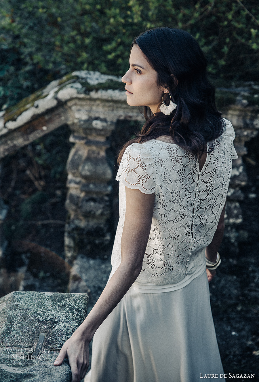 laure de sagazan 2017 bridal cap sleeves jewel neck heavily embellished lace bodice bohemian column wedding dress covered lace back (bergerac) bv