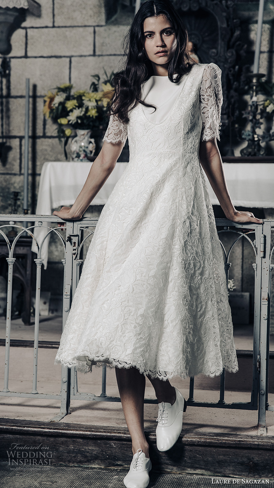 laure de sagazan 2017 bridal half puff sleeves bateau neck full embellishment bohemian tea length short wedding dress open v back (gary) mv