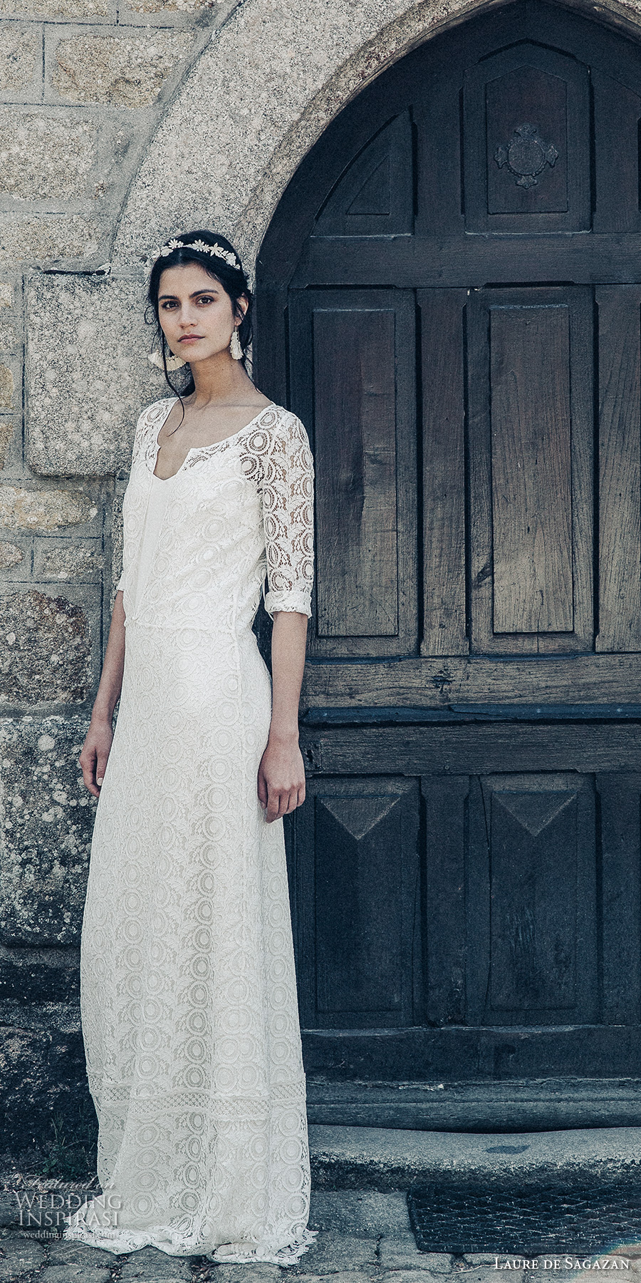 laure de sagazan 2017 bridal half sleeves plunging v neck full lace embellishment overdress spagetti strap scoop neck column wedding dress open v back (drieu cleves) mv