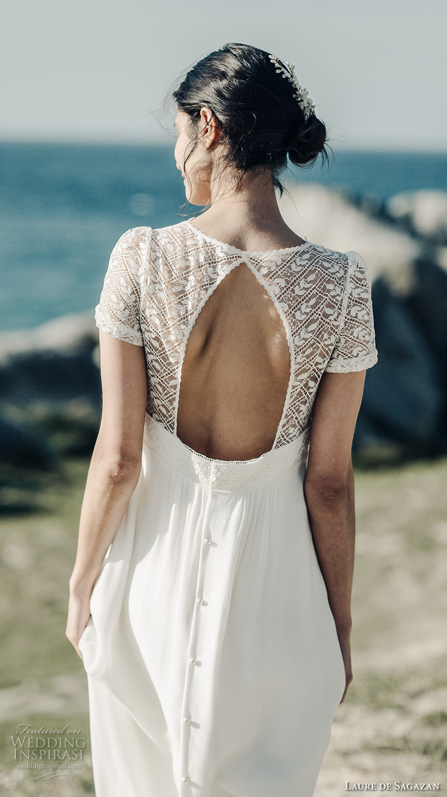 laure de sagazan 2017 bridal half sleeves v neck heavily embellished bodice bohemian empire wedding dress keyhole back sweep train (vadim) bv