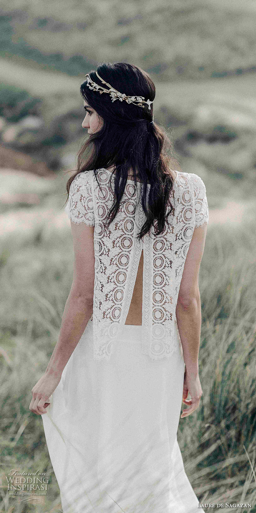 laure de sagazan 2017 bridal short lace sleeves jewel neck heavily embellished bodice bohemian 2 piece column wedding dress lace back sweep train (cyrano) bv
