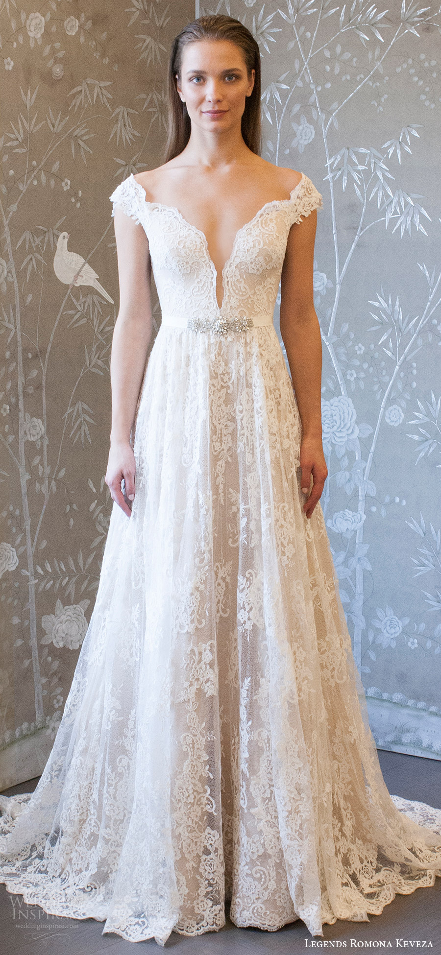 legends romona keveza spring 2018 bridal cap sleeves off shoulder split sweetheart lace a line wedding dress (l8128) mv chapel train romantic elegant