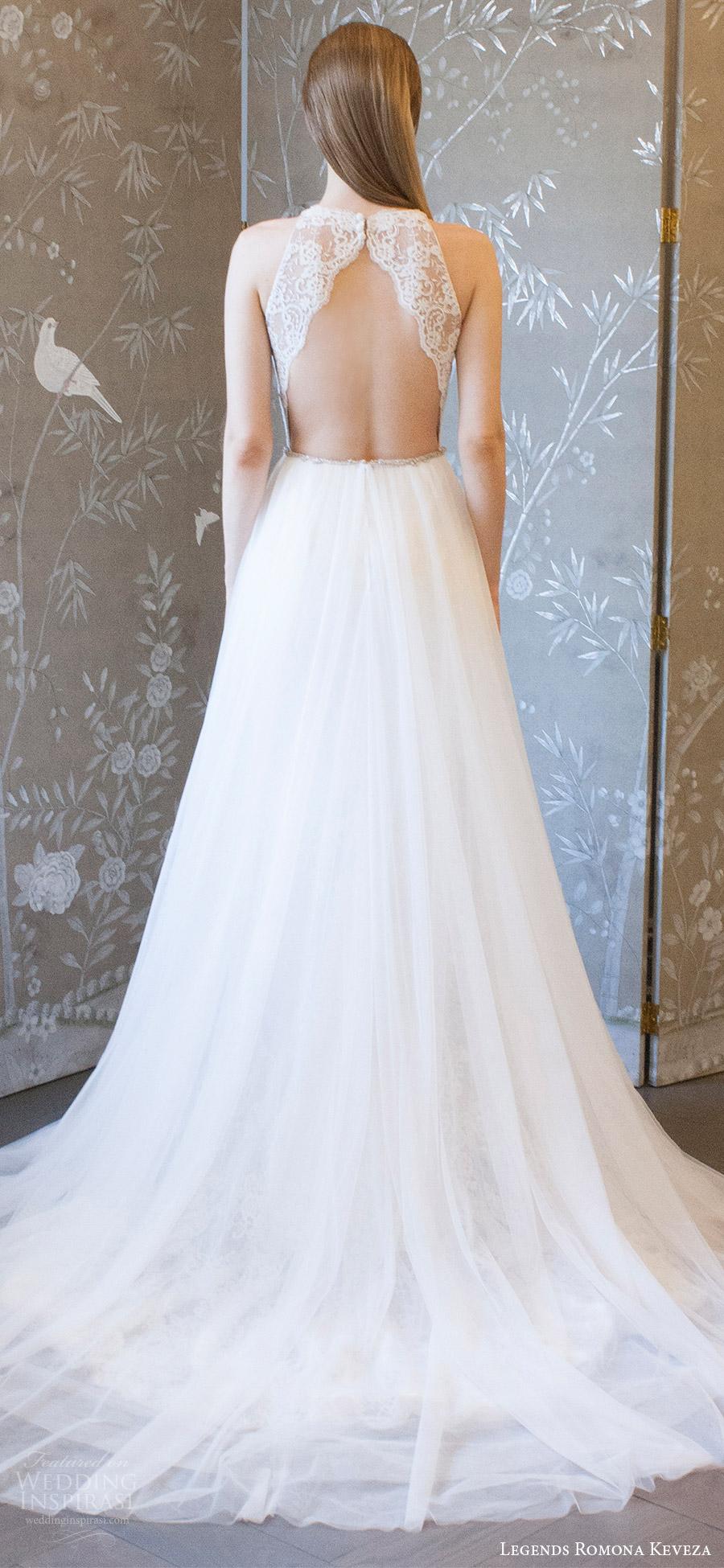 legends romona keveza spring 2018 bridal sleeveless deep v neck lace bodice a line wedding dress (l8127 skt) bv keyhole back romantic train elegant