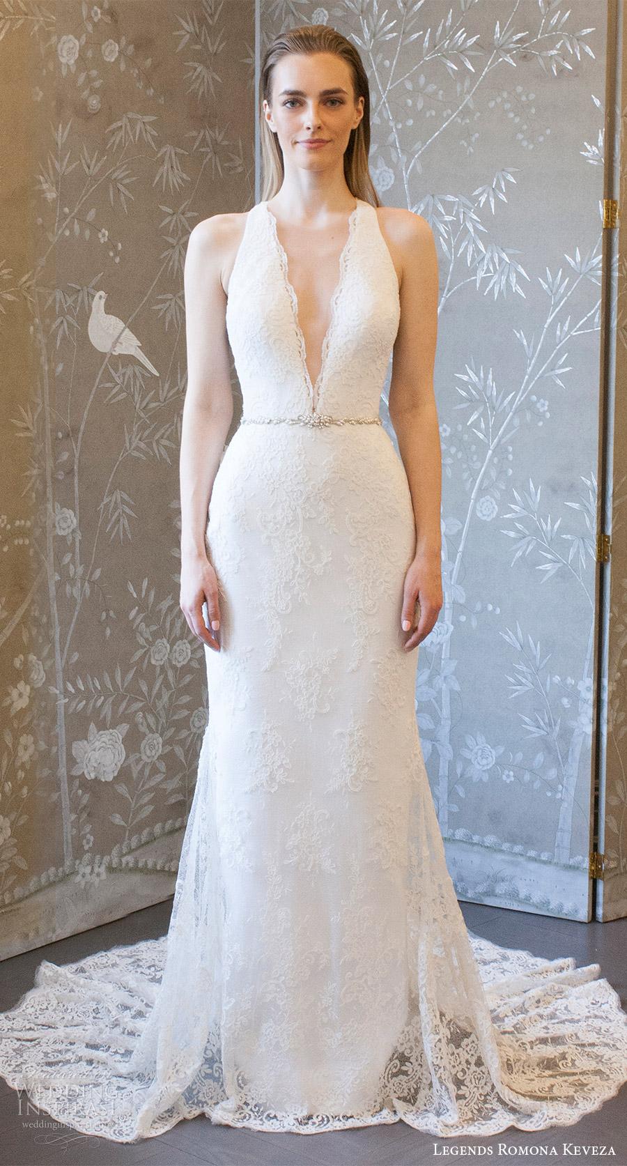 legends romona keveza spring 2018 bridal sleeveless deep v neck lace sheath wedding dress (l8127) mv elegant romantic long train