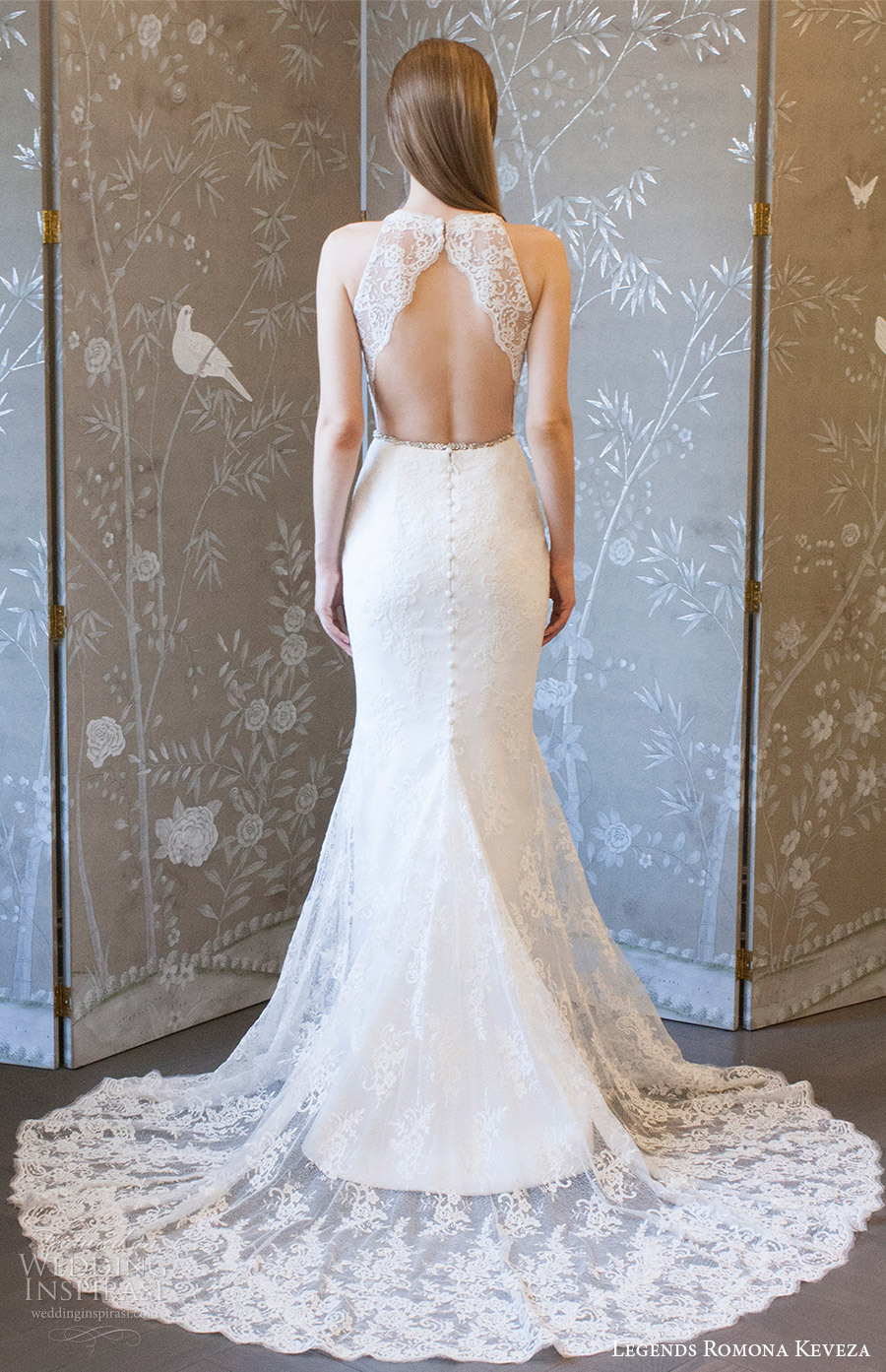 legends romona keveza spring 2018 bridal sleeveless deep v neck lace sheath wedding dress (l8127) mv keyhole back elegant romantic long train