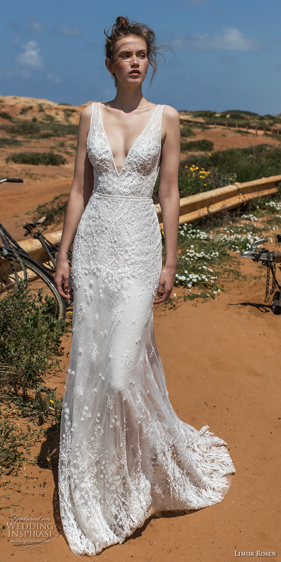 limor rosen 2018 bridal sleeveless deep v neckline full embellishment elegant sheath wedding dress open v back chapel train (cameron) mv