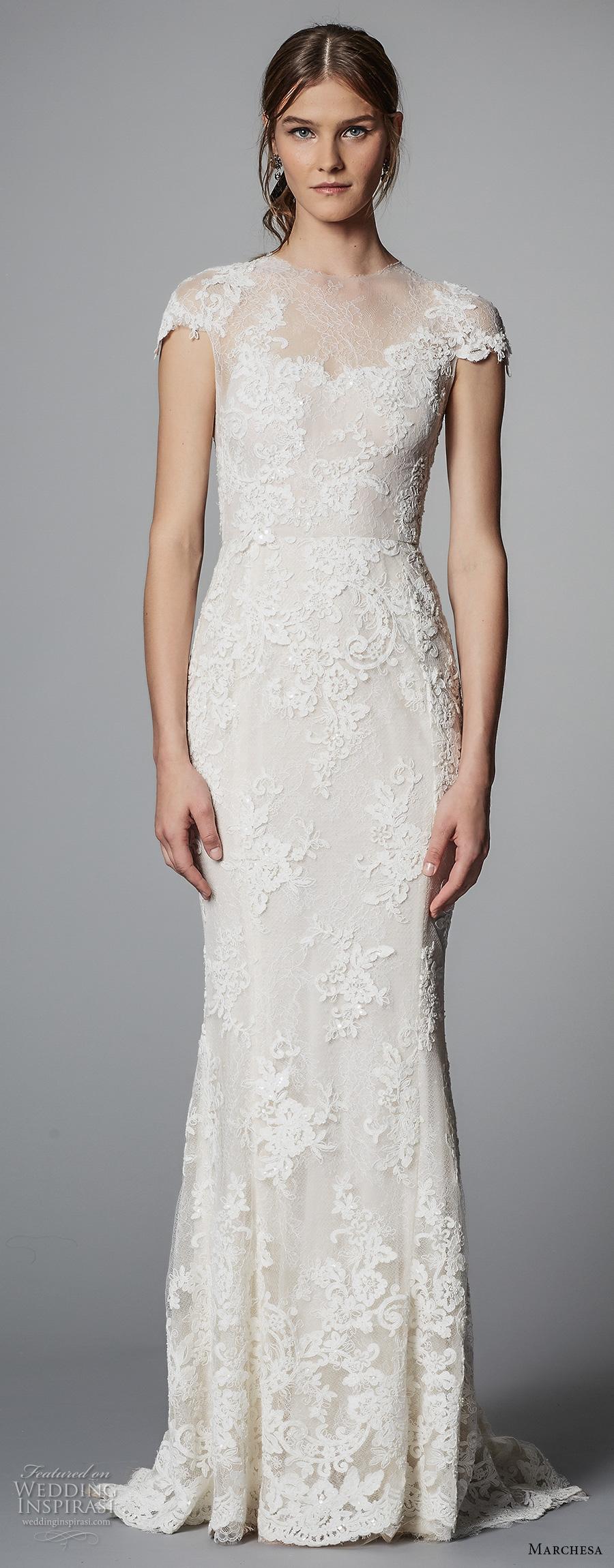 marchesa spring 2018 bridal cap sleeves illusion jewel sweetheart neckline heavily embellished bodice tulle skirt elegant sheath wedding dress sheer lace back sweep train (05) mv zv