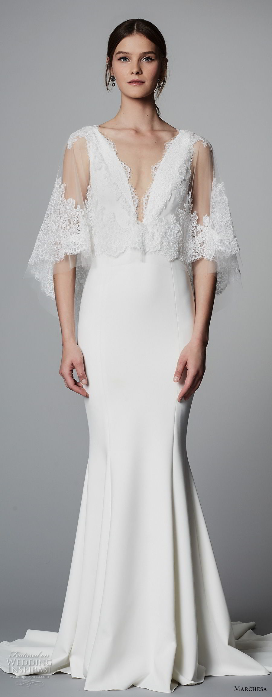 marchesa spring 2018 bridal half bell sleeves deep v neck heavily embellished bodice elegant fit and flare wedding dress sweep train (13) mv