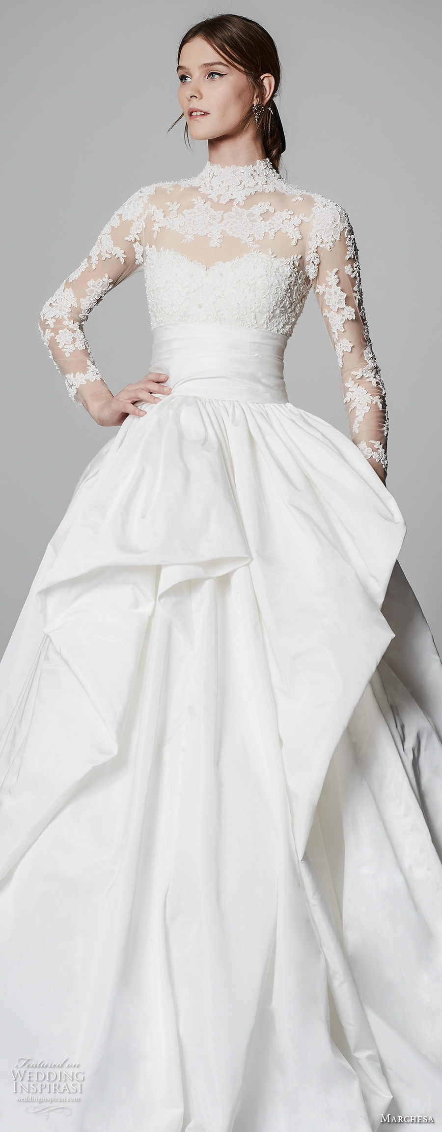 marchesa spring 2018 bridal long sleeves illusion high neck sweetheart neckline heavily embellished princess ball gown a  line wedding dress sheer lace back chapel train (11) zv