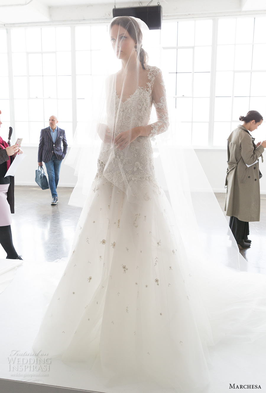 marchesa spring 2018 bridal long sleeves sweetheart neckline heavily embellished bodice glamorous romantic a  line wedding dress open low back chapel train (08) mv