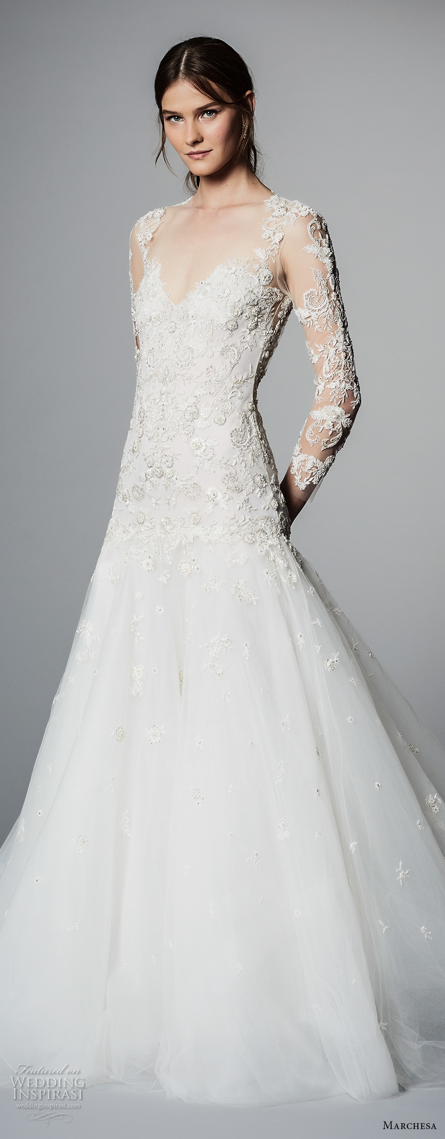 marchesa spring 2018 bridal long sleeves sweetheart neckline heavily embellished bodice glamorous romantic a  line wedding dress open low back chapel train (08) zv