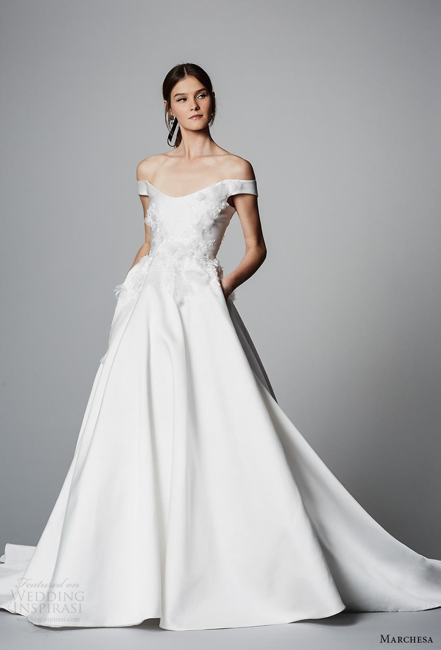 marchesa spring 2018 bridal off the shoulder scoop neck heavily embellished bodice princess ball gown wedding dress pockets chapel train (07) mv