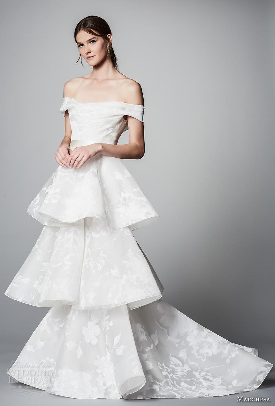 marchesa spring 2018 bridal off the shoulder straight across neck light embellishment layered skirt romantic elegant column wedding dress open back chapel train (12) mv