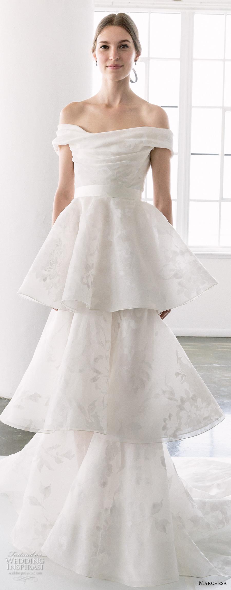 marchesa spring 2018 bridal off the shoulder straight across neck light embellishment layered skirt romantic elegant column wedding dress open back chapel train (12) zv