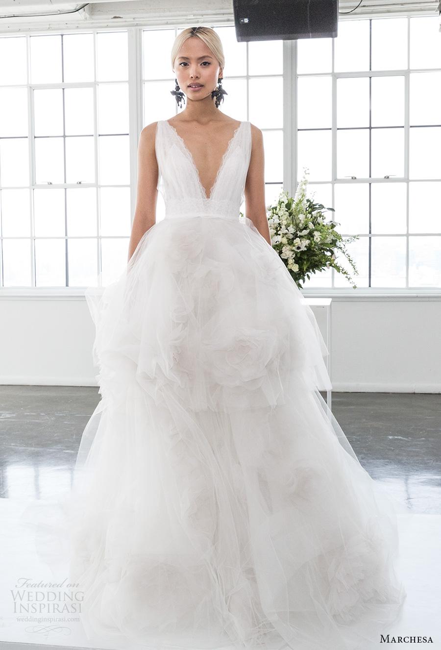 marchesa spring 2018 bridal sleeveless deep v neck lighly embellished bodice ruffled tulle skirt romantic ball gown wedding dress open v back chapel train (03) mv