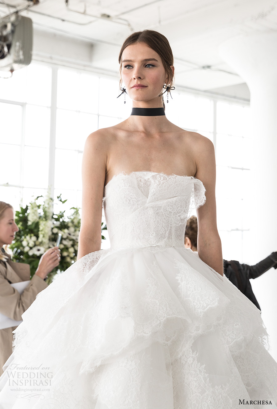 marchesa spring 2018 bridal strapless straight across neckline light embellishment tiered skirt princess romantic ball gown wedding dress chapel train (14) mv