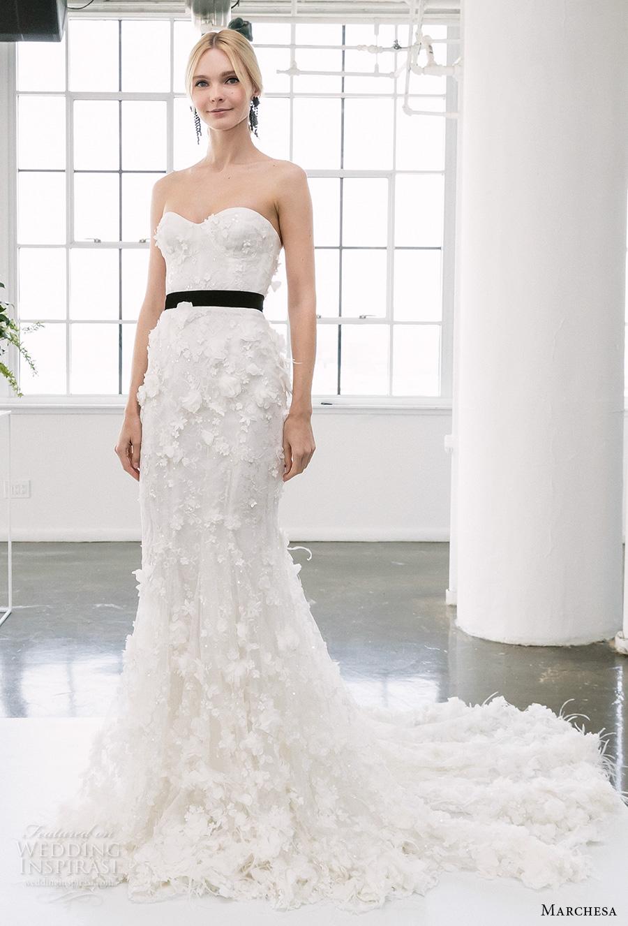 marchesa spring 2018 bridal strapless sweetheart neckline full embellishment romantic elegant fit and flare wedding dress chapel train (02) mv