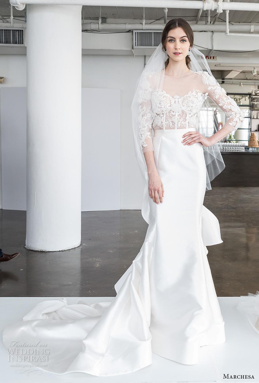 marchesa spring 2018 bridal three quarter sleeves sheer boat sweetheart neckline heavily embellished bodice elegant glamorous fit and flare wedding dress chapel train (01) mv