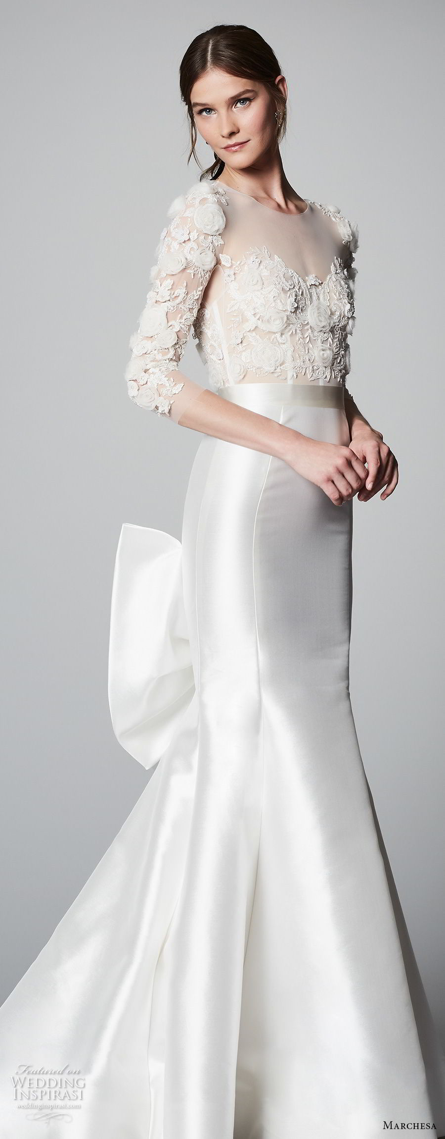 marchesa spring 2018 bridal three quarter sleeves sheer boat sweetheart neckline heavily embellished bodice elegant glamorous fit and flare wedding dress chapel train (01) sdv