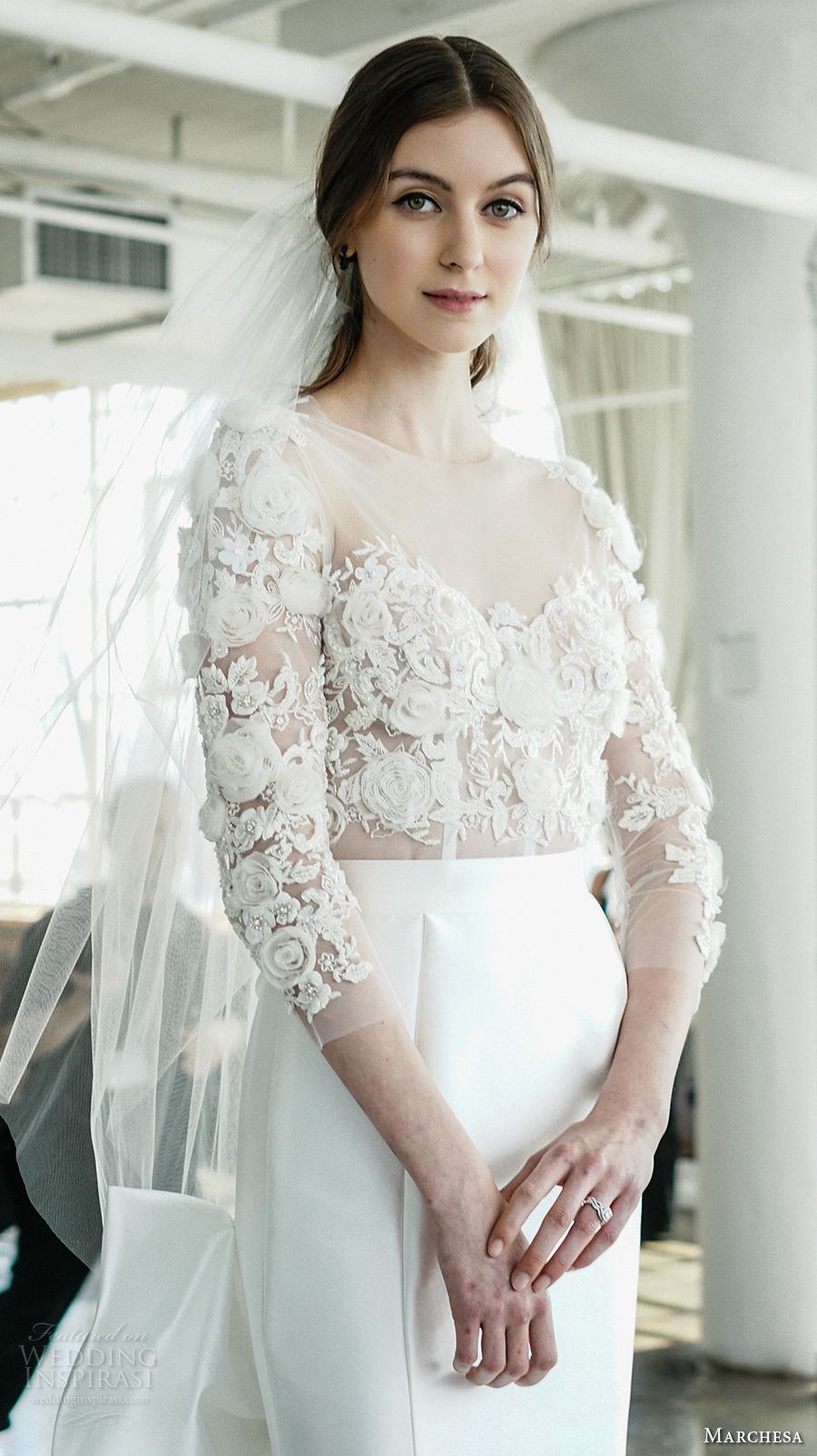 marchesa spring 2018 bridal three quarter sleeves sheer boat sweetheart neckline heavily embellished bodice elegant glamorous fit and flare wedding dress chapel train (01) zv