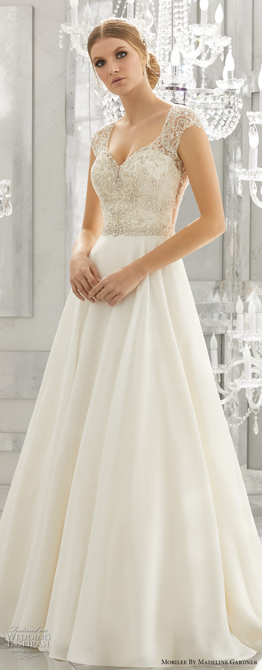 morilee fall 2017 bridal cap sleeves sweetheart neckline heavily embellished bodice glamorous romantic a  line wedding dress open scoop back chapel train (8182) mv zv