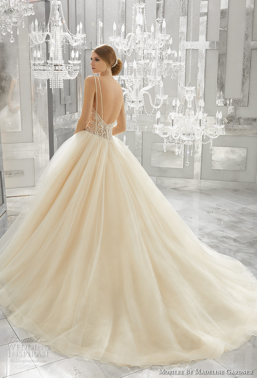 morilee fall 2017 bridal double thin strap sweetheart neckline heavily embellished bustier bodice tulle skirt blush color romantic sexy ball gown wedding dress open back chapel train (8194) bv
