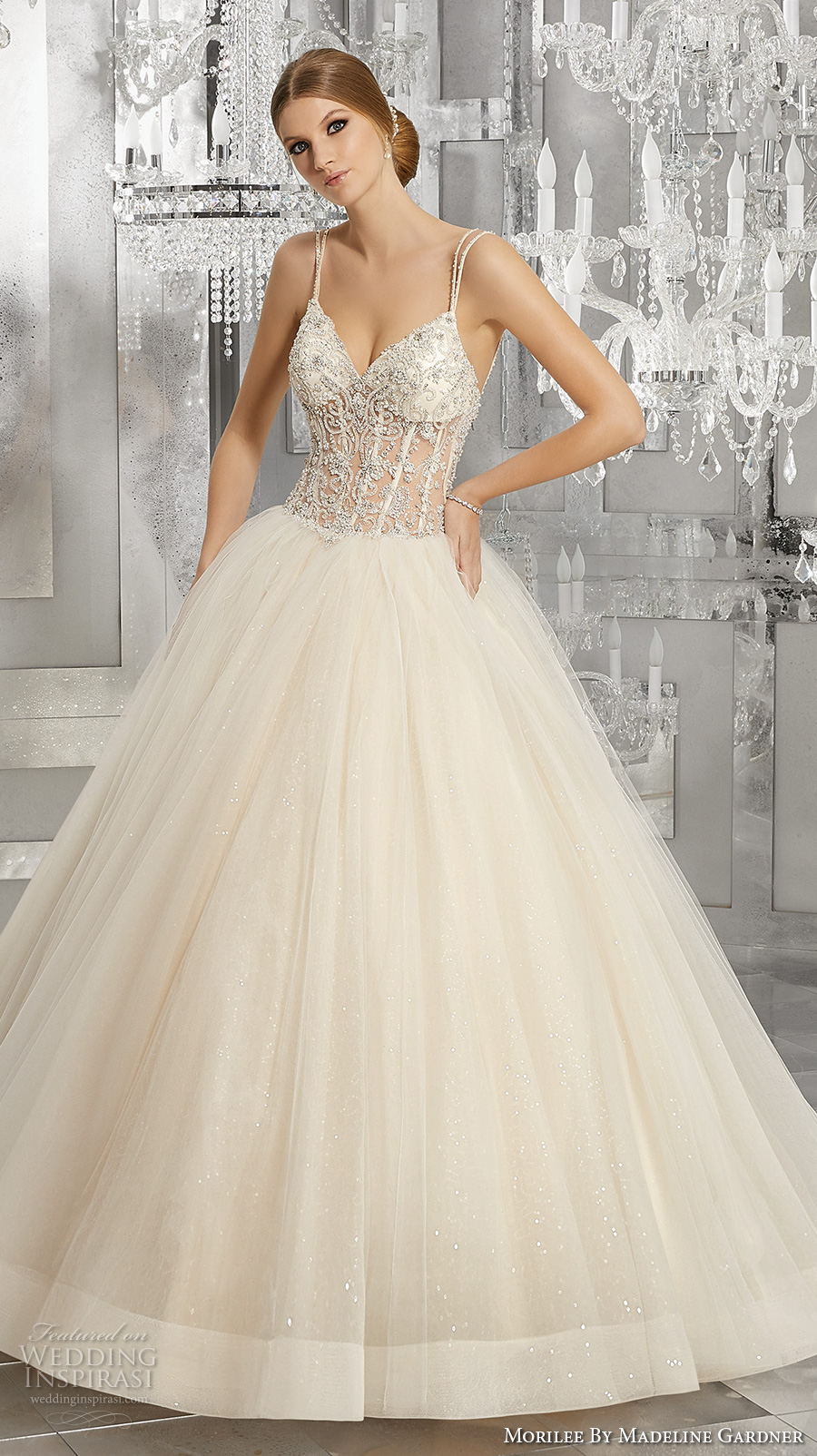 morilee fall 2017 bridal double thin strap sweetheart neckline heavily embellished bustier bodice tulle skirt blush color romantic sexy ball gown wedding dress open back chapel train (8194) mv