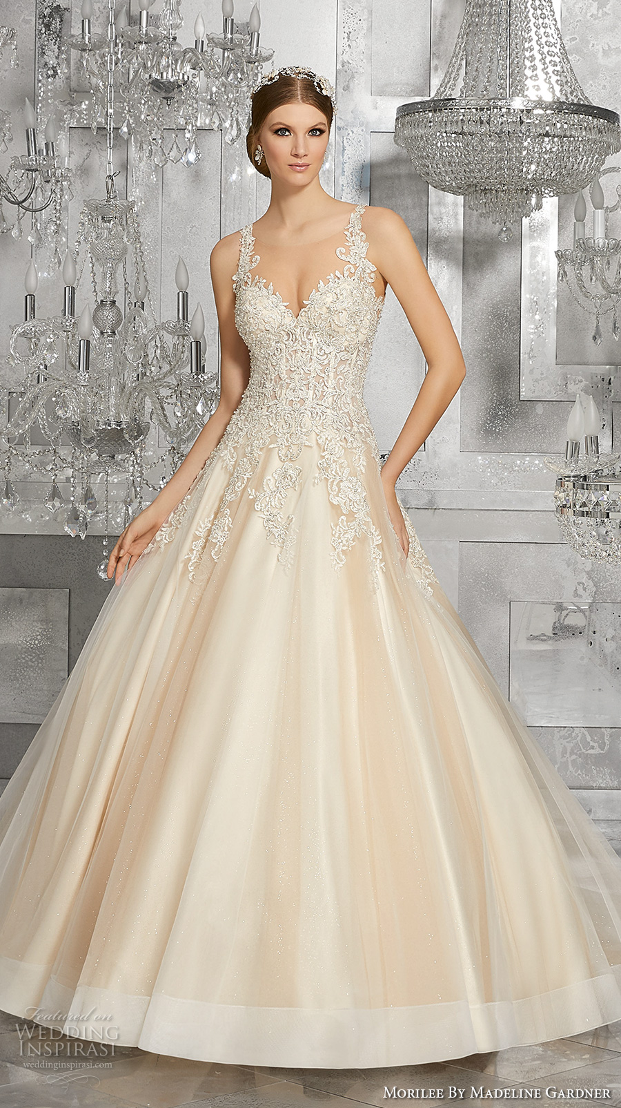 morilee fall 2017 bridal embellished strap sweetheart neckline heavily embellished busiter bodice romantic blush color a  line wedding dress keyhole back chapel train (8190) mv