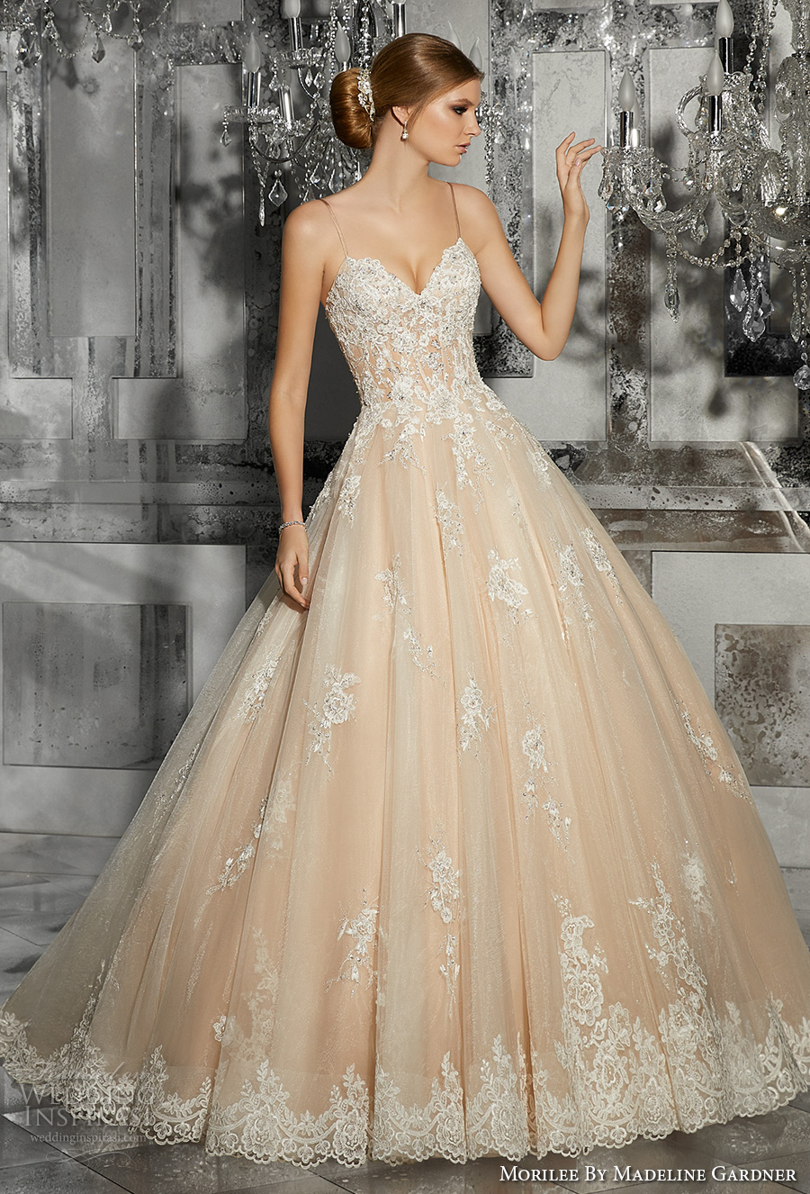 morilee fall 2017 bridal spagetti strap sweetheart neckline heavily embellished bodice romantic princess blush ball gown a  line wedding dress chapel train (8187) mv