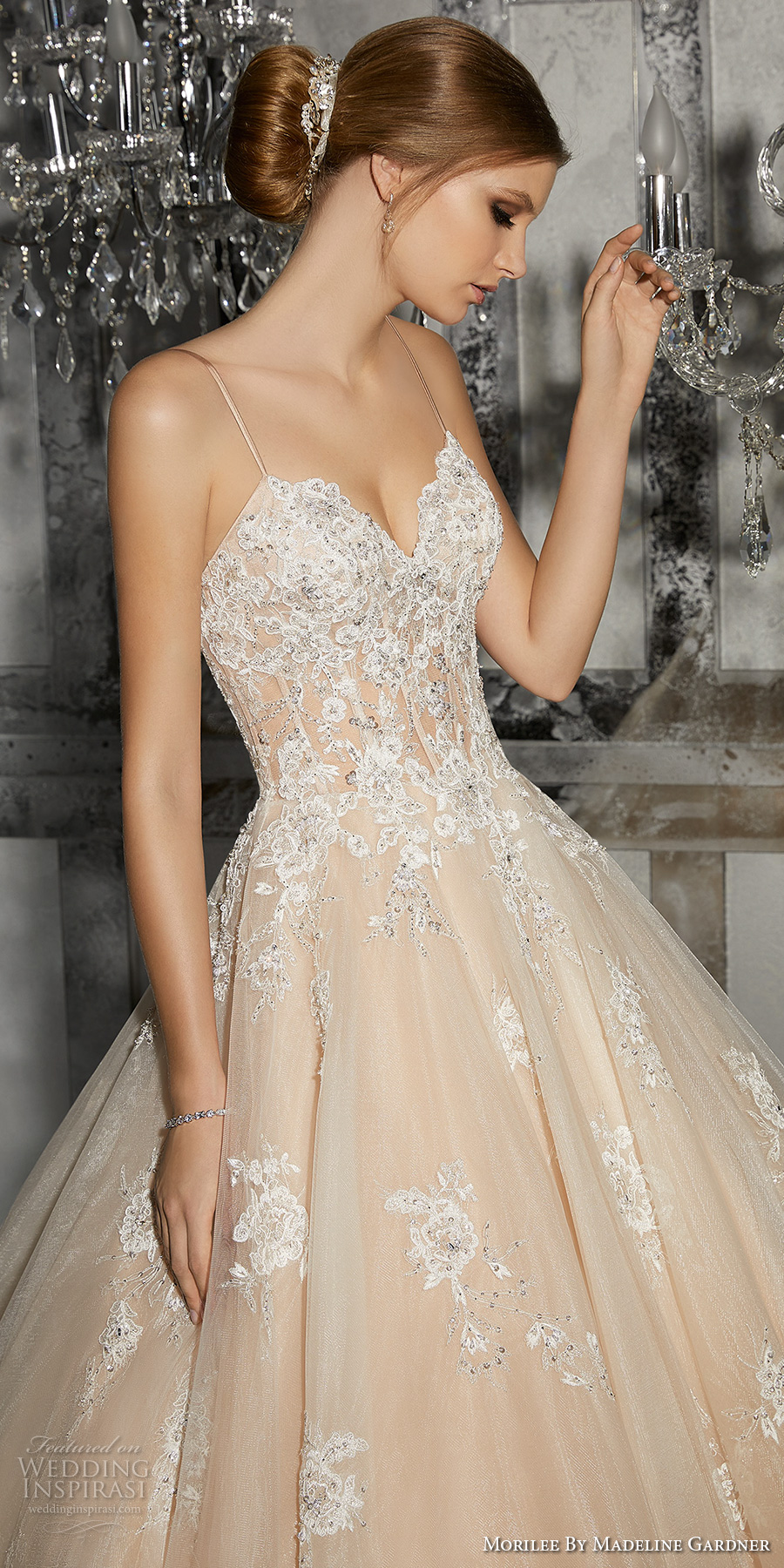 morilee fall 2017 bridal spagetti strap sweetheart neckline heavily embellished bodice romantic princess blush ball gown a  line wedding dress chapel train (8187) zv