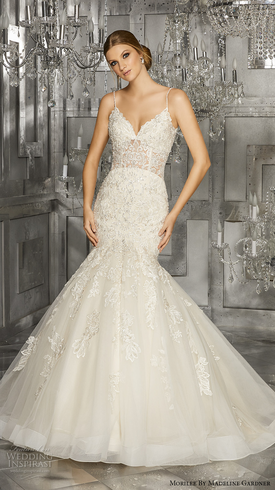 morilee fall 2017 bridal spagetti strap sweetheart neckline heavily embellished bodice tulle skirt elegant mermaid wedding dress chapel train (8176) mv