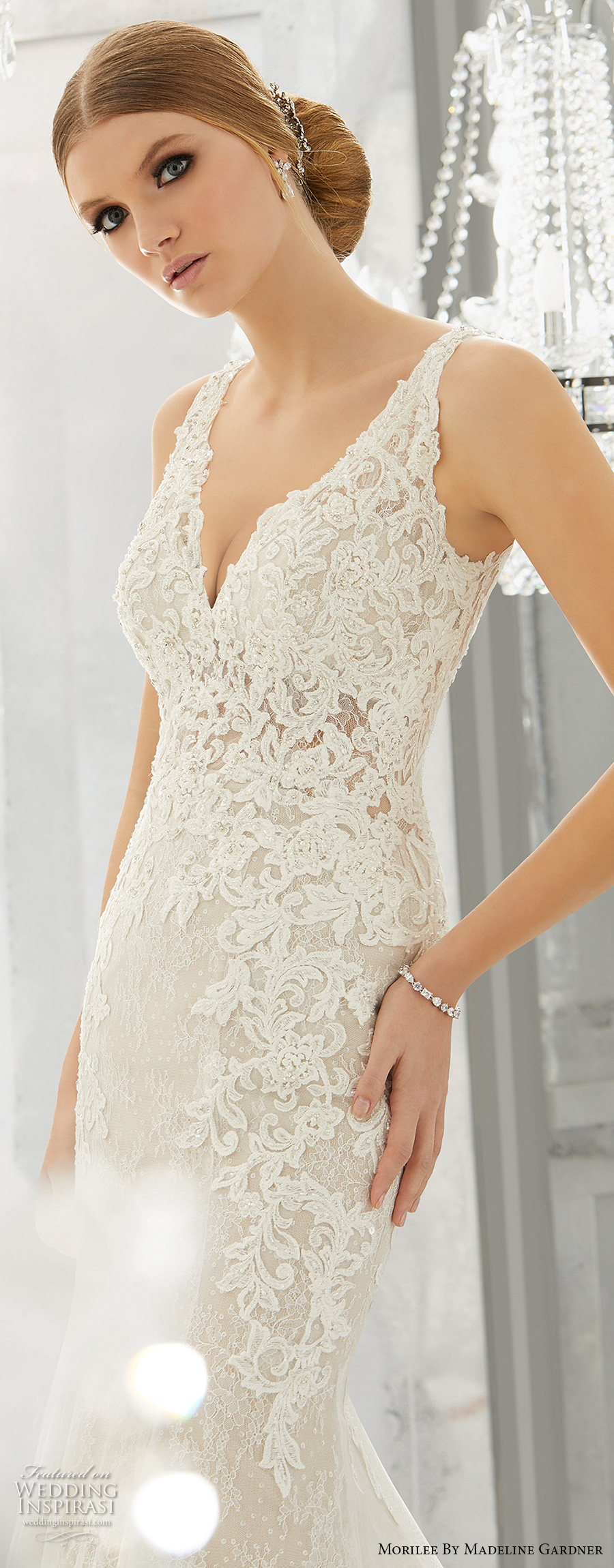morilee fall 2017 bridal strap v neck heavily embellished bodice elegant fit and flare wedding dress open v back short train (8180) zv